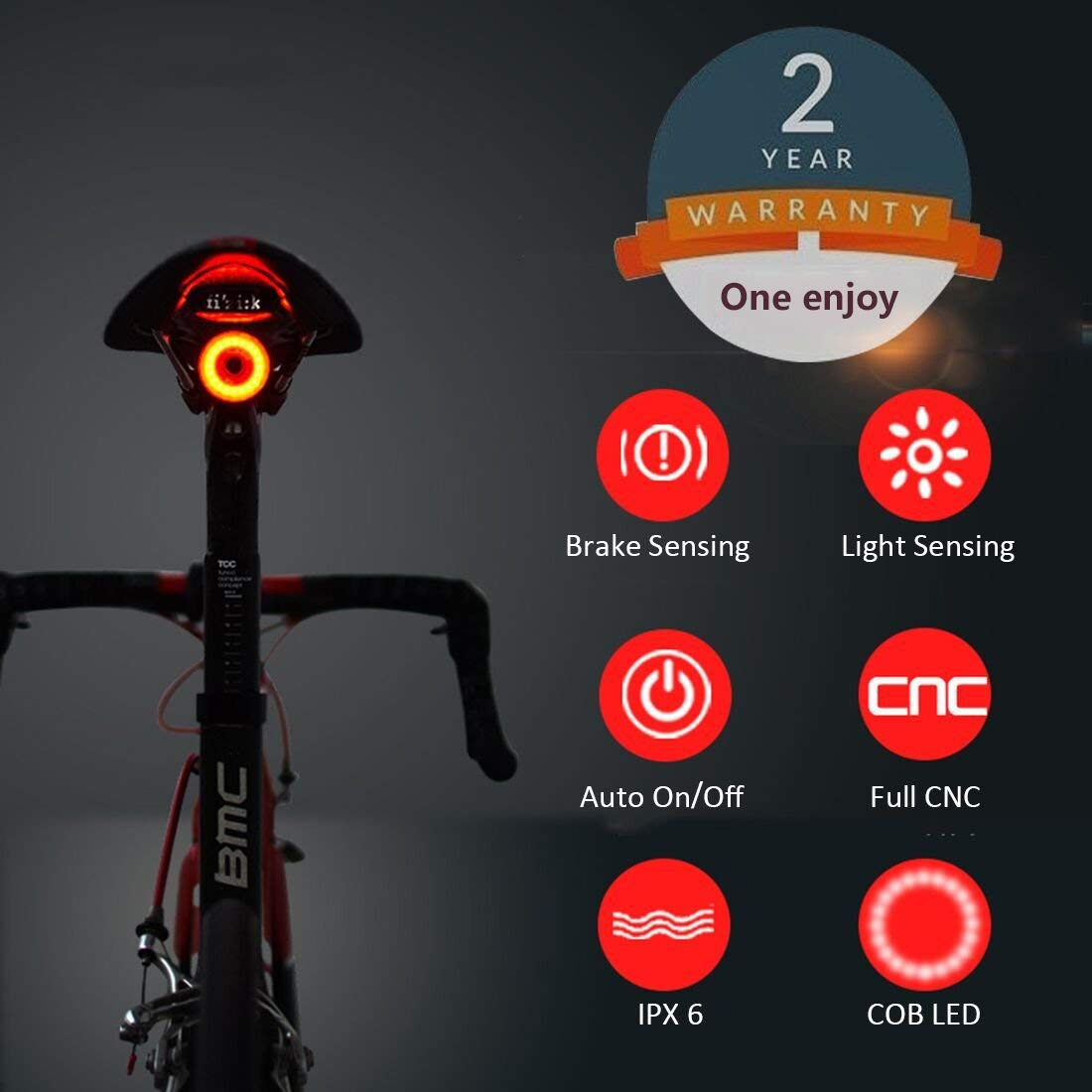 Bike Tail Light Ultra Bright, Bike Light Rechargeable Auto on-off, IPX6 Waterproof LED Bicycle lights,High Intensity Rear LED Accessories Fits On Any Road Bikes, Helmets, Easy To Install